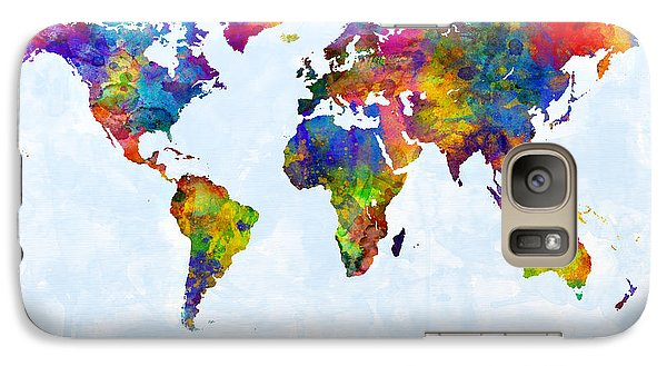 Watercolor Map Of The World Map Galaxy Case by Michael Tompsett