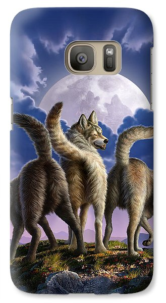 3 Wolves Mooning Galaxy S7 Case by Jerry LoFaro