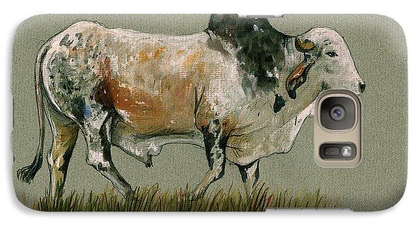 Zebu Cattle Art Painting Galaxy S7 Case by Juan  Bosco