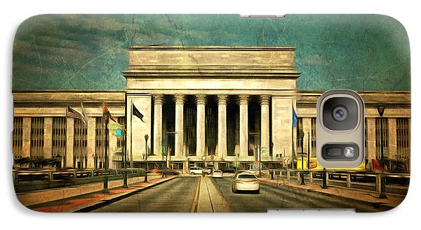 Galaxy Case featuring the mixed media 30th Street Station Traffic by Trish Tritz