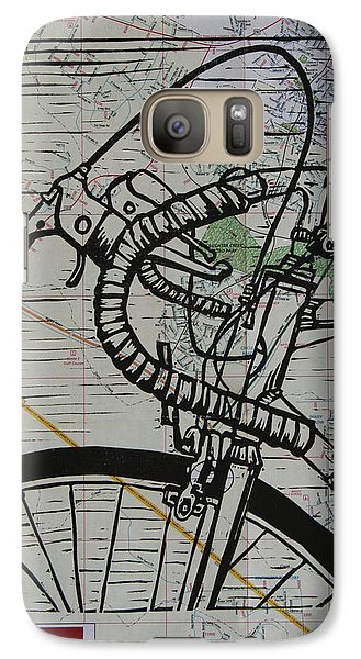Galaxy Case featuring the drawing Bike 2 On Map by William Cauthern