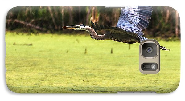 Galaxy Case featuring the photograph Great Blue Heron In Flight by Edward Peterson