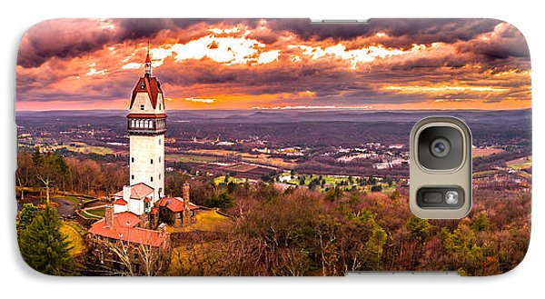 Galaxy Case featuring the photograph Heublein Tower, Simsbury Connecticut, Cloudy Sunset by Petr Hejl