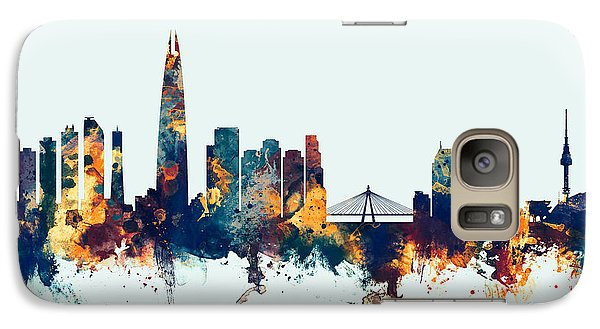 Galaxy Case featuring the digital art Seoul Skyline South Korea by Michael Tompsett