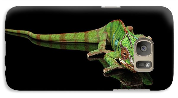 Sneaking Panther Chameleon, Reptile With Colorful Body On Black Mirror, Isolated Background Galaxy S7 Case