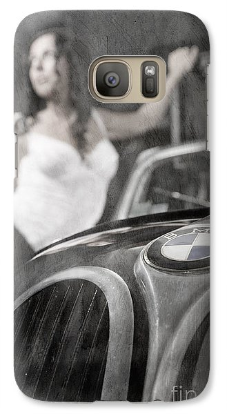 Galaxy Case featuring the photograph The Girl On The Background Of Vintage Car. by Andrey  Godyaykin