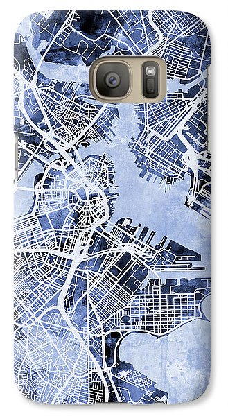 Boston Massachusetts Street Map Galaxy S7 Case by Michael Tompsett