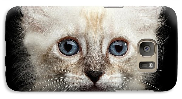 Cat Galaxy S7 Case - Cute American Curl Kitten With Twisted Ears Isolated Black Background by Sergey Taran