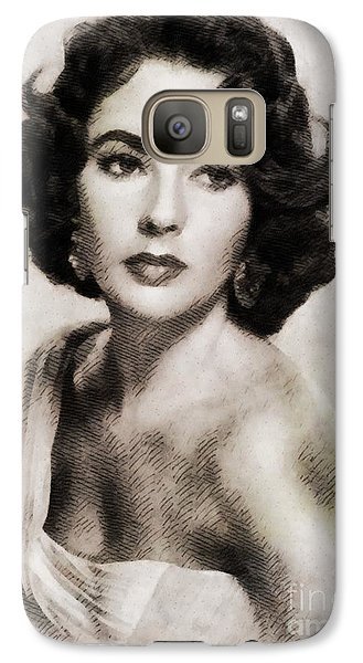 Elizabeth Taylor, Vintage Hollywood Legend Galaxy S7 Case by John Springfield