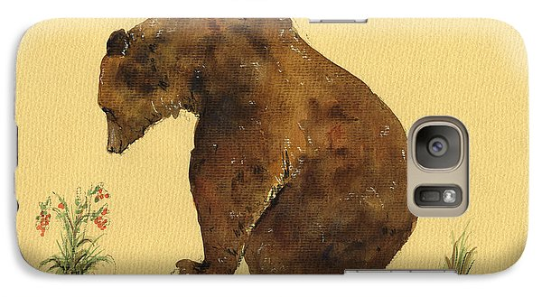 Grizzly Bear Watercolor Painting Galaxy Case by Juan  Bosco