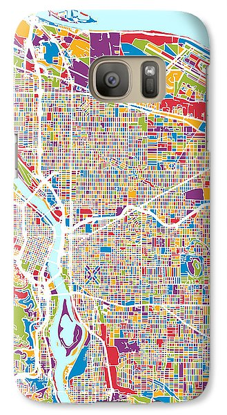 Galaxy Case featuring the digital art Portland Oregon City Map by Michael Tompsett