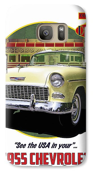 Galaxy Case featuring the drawing 55 Chevy by Kenneth De Tore