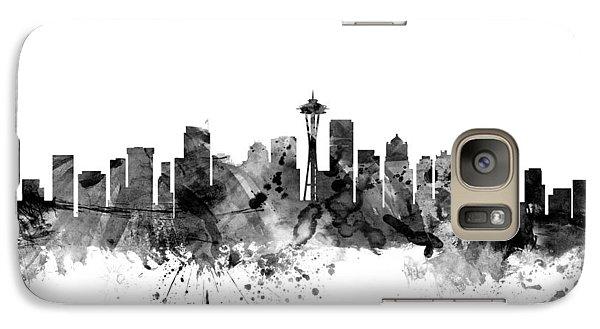 Seattle Washington Skyline Galaxy Case by Michael Tompsett