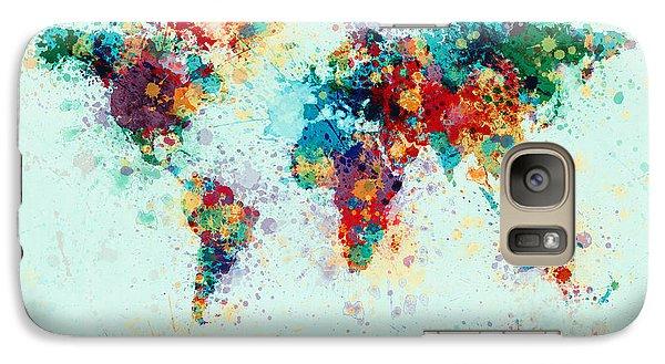 World Map Paint Splashes Galaxy Case by Michael Tompsett