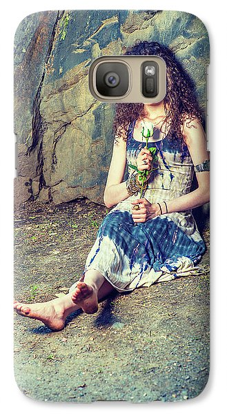 Young American Woman Missing You With White Rose In New York Galaxy S7 Case