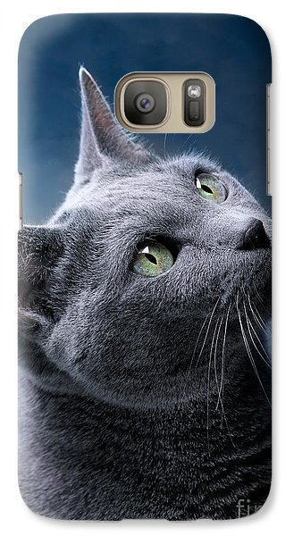 Russian Blue Cat Galaxy Case by Nailia Schwarz