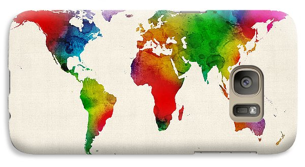 Galaxy Case featuring the digital art Watercolor Map Of The World Map by Michael Tompsett