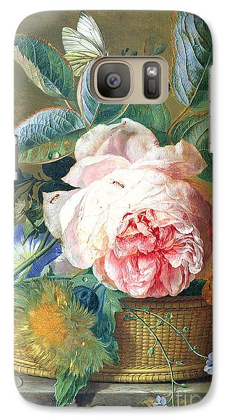 A Basket With Flowers Galaxy Case by Jan van Huysum
