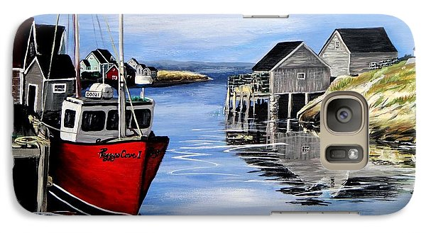 Galaxy Case featuring the painting A Beautiful Day At Peggy's Cove  by Patricia L Davidson