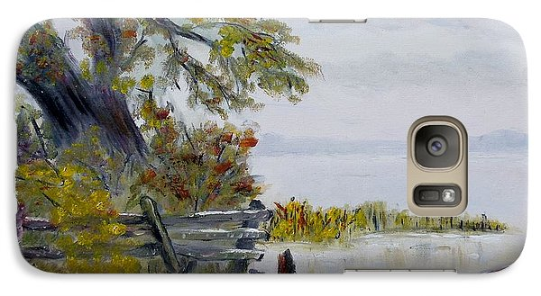 Galaxy Case featuring the painting A Boat Waiting by Marilyn  McNish