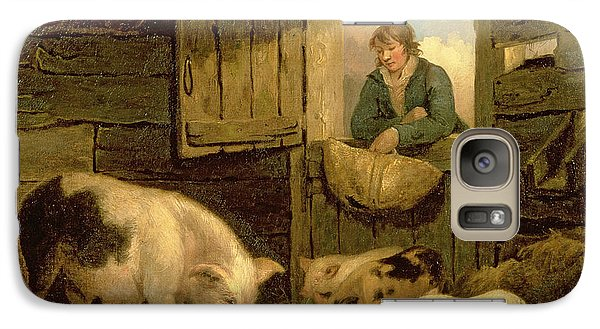 A Boy Looking Into A Pig Sty Galaxy S7 Case