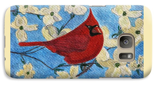 Galaxy Case featuring the painting A Cardinal Spring by Angela Davies