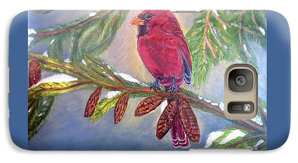 Galaxy Case featuring the painting A Cardinal's Sweet And Savory Song Of Winter Thawing Painting by Kimberlee Baxter