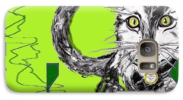 Galaxy Case featuring the drawing A Cat by Desline Vitto