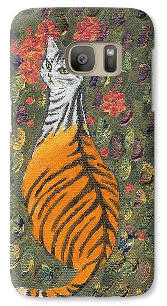 Galaxy Case featuring the painting A Cat's Dream Apparel by Jingfen Hwu