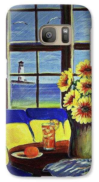 Galaxy Case featuring the painting A Coastal Window Lighthouse View by Patricia L Davidson