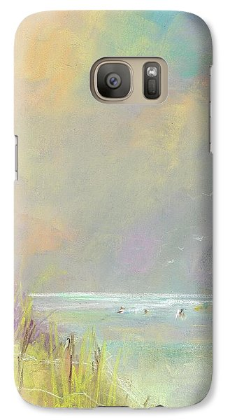 Galaxy Case featuring the painting A Day At The Beach by Frances Marino