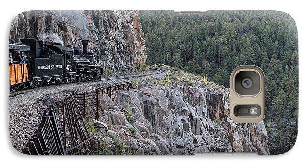 Galaxy Case featuring the photograph A Durango And Silverton Narrow Gauge Scenic Railroad Train Along A San Juan Mountains Precipice by Carol M Highsmith