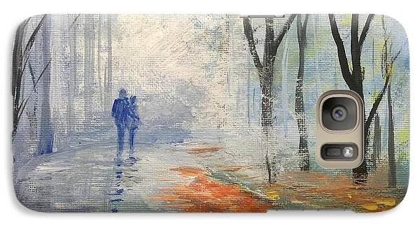 Galaxy Case featuring the painting A Fall Walk by Trilby Cole