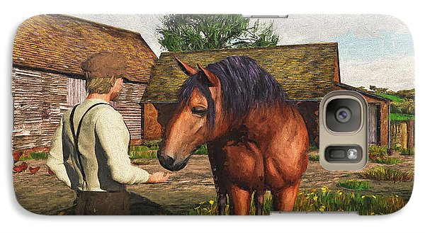 Galaxy Case featuring the digital art A Farmer And His Horse by Jayne Wilson