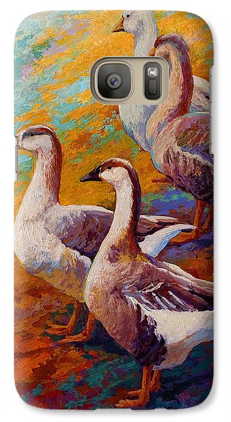A Gaggle Of Four - Geese Galaxy Case by Marion Rose