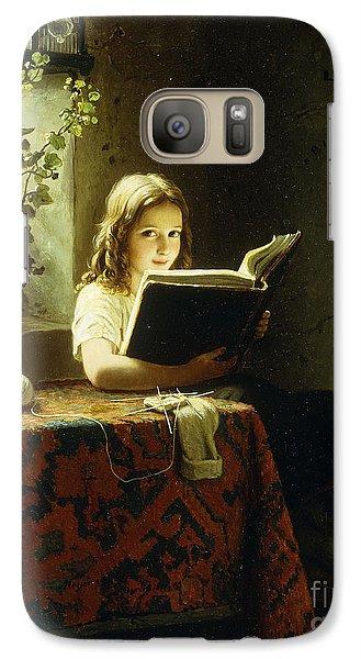 A Girl Reading Galaxy S7 Case by Johann Georg Meyer