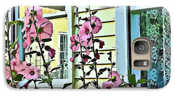 Galaxy Case featuring the digital art A Holly Hocks Morning by Mindy Newman
