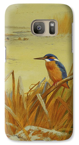 A Kingfisher Amongst Reeds In Winter Galaxy Case by Archibald Thorburn
