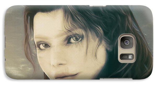 Galaxy Case featuring the mixed media A Look Back by Jutta Maria Pusl
