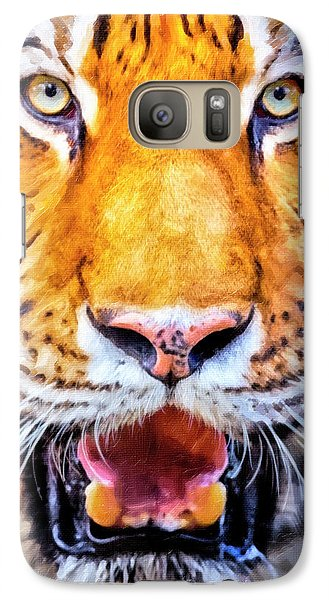 A Look Into The Tiger's Eyes Galaxy Case by David Millenheft