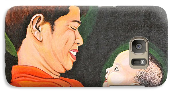 Galaxy Case featuring the painting A Moment With Dad by Cyril Maza