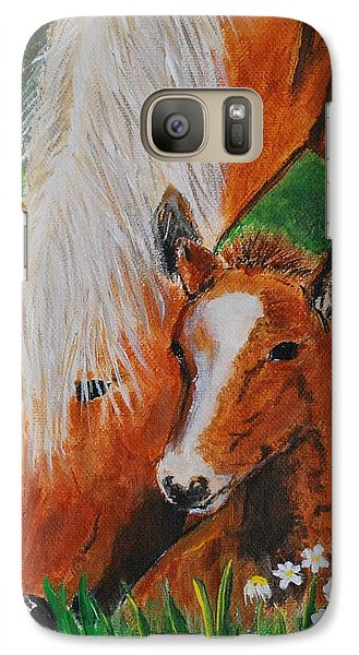 Galaxy Case featuring the painting A Mothers Love by Leslie Allen