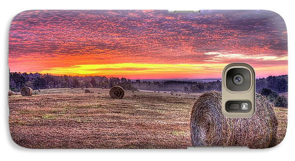 Galaxy Case featuring the photograph Before A New Day Georgia Hayfield Sunrise Art by Reid Callaway