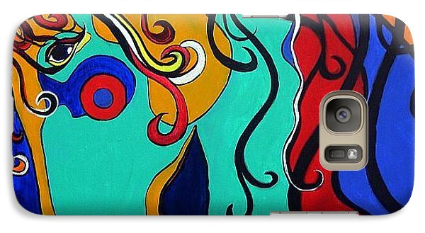 Galaxy Case featuring the painting A Rainbow Called Romeo by Alison Caltrider