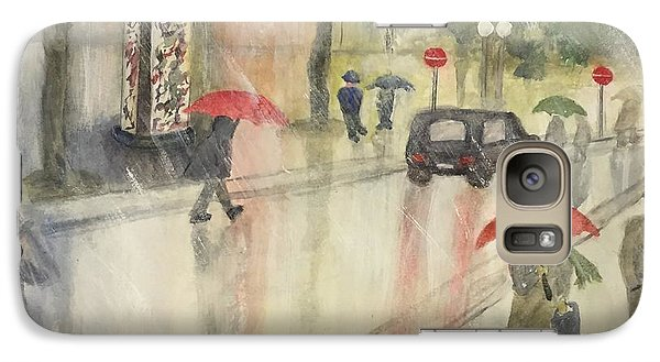 Galaxy Case featuring the painting A Rainy Streetscene  by Lucia Grilletto