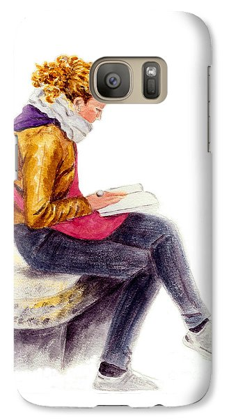 Galaxy Case featuring the painting A Reading Girl In Milan by Jingfen Hwu