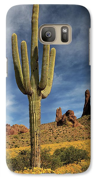 Galaxy Case featuring the photograph A Saguaro In Spring by James Eddy