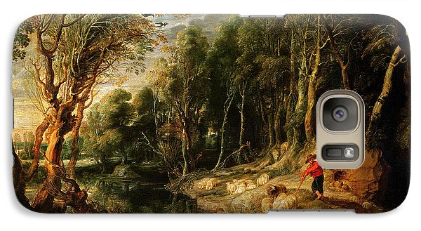 A Shepherd With His Flock In A Woody Landscape Galaxy S7 Case by Rubens