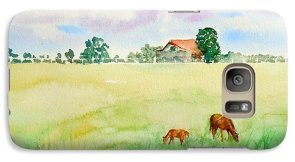 Galaxy Case featuring the painting A Spring Graze by Sharon Mick