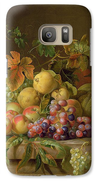 A Still Life Of Melons Grapes And Peaches On A Ledge Galaxy S7 Case by Jakob Bogdani